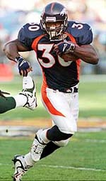 Terrell Davis set a Super Bowl record with three rushing touchdowns.