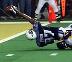 Kevin Dyson ends up a yard short on the last play of the game.