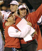 Jon Gruden celebrates as his Buccaneers wrap up a Super Bowl title in his first season in Tampa Bay.