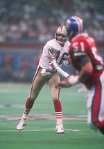 Joe Montana earned his record third Super Bowl MVP award after throwing five TD passes.