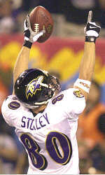 Brandon Stokley offers a salute after his 38-yard TD catch in the first quarter.