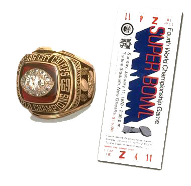 Super Bowl IV Ticket and Ring
