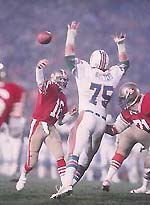 Joe Montana was named MVP after throwing for three TDs and running for another.
