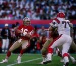 Joe Montana threw for a Super Bowl-record 357 yards.