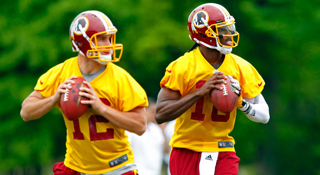 Redskins quarterbacks Kirk Cousins and Robert Griffin III