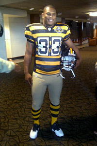 Isaac Redman models Pittsburgh's new (well, old) threads.