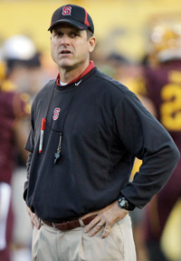 Jim Harbaugh led Stanford to a 12-1 record and a 40-12 Orange Bowl victory over Virginia Tech this season.