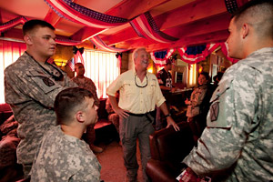 Carolina Panthers head coach John Fox spends some private time with troops at the USO Pat Tillman center.