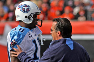 Titans QB Vince Young (left) and coach Jeff Fisher have endured a rocky 2010 season.