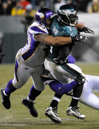 Eagles QB Michael Vick found himself in plenty of trouble on Tuesday night against the Vikings.