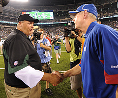 Two Giants players said they wish their coach, Tom Coughlin (right), was more like Jets counterpart Rex Ryan.