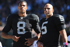 Jason Campbell (left) figures to start at QB next year, with Bruce Gradkowski pushing for time.