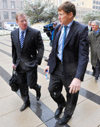 NFL Commissioner Roger Goodell (left) and Packers CEO Mark Murphy arrive for Wednesday's mediation session, the last until May 16.