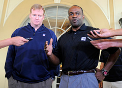 NFL Commissioner Roger Goodell (left) and NFLPA executive director DeMaurice Smith briefly spoke to the media after their joint session with more than 150 rookies in Sarasota, Fla.