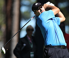 Tony Romo, shown practicing Thursday, was unable to surpass actor Jack Wagner in the final round of the American Century Celebrity Golf Championship.