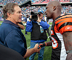 Bill Belichick (left) will coach Chad Ochocinco after the receiver was traded from the Bengals to the Patriots on Thursday.