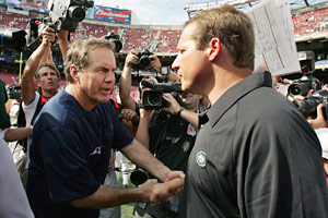 Eric Mangini (right) started his NFL career working on Bill Belichick's coaching staff in Cleveland, then New England.