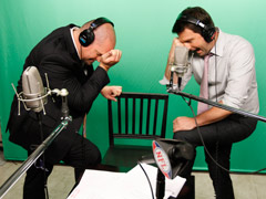 NFL.com's Adam Rank (left) and Dave Dameshek give themselves to Tebowing.