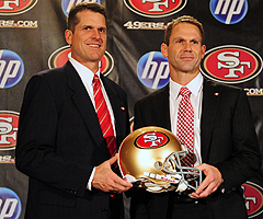 Jim Harbaugh (left) and Trent Baalke have a competitive relationship that is reflected throughout the 49ers organization.