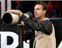 Randy Johnson, who struck out 4,875 batters during a prolific major-league career, took a swing at shooting an NFL game Sunday.