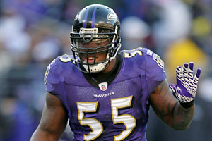 Terrell Suggs ranks fourth in the NFL with 13 sacks this season.