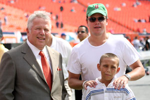 Matt Damon (right) -- pictured with Patriots owner Robert Kraft -- isn't blasé about his football team.