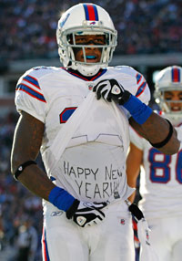 Stevie Johnson's excitement over the start of 2012 didn't fly with game officials or his coach Sunday.