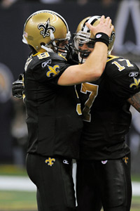 Drew Brees (left) had faith in Robert Meachem, and it paid off with a 56-yard TD.