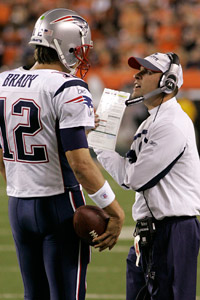 Tom Brady (left) and Josh McDaniels worked well together in their first go-round. The Patriots hope they can again, bringing back McDaniels on Sunday as an offensive coordinator-in-waiting.