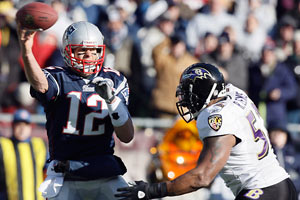 Ray Lewis last saw Tom Brady in the postseason in a Ravens wild-card win over the Patriots in January 2010.