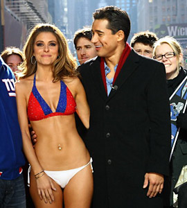 Maria Menounos' lost Super Bowl bet was the gain of her legions of fans.