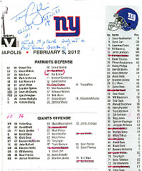 Tom Coughlin's flip card shows evidence of a Gatorade dousing.