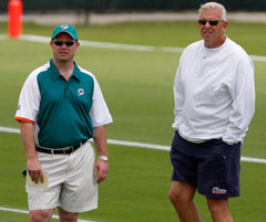 Jeff Ireland (left) and Bill Parcells worked together in Dallas before joining up in Miami.