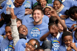 Tim Tebow attracts a large crowd whenever he attends events in the community.