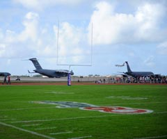 A view of the 2012 NFL Pro Bowl practice field at Joint Base Pearl Harbor-Hickam in Oahu, Hawaii (AP).