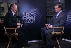 NFL Network's Rich Eisen (left) and NFL Commissioner Roger Goodell talk Tuesday about the Saints 