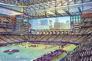 This artist's rendering provided by the Vikings shows an interior view of the proposed stadium for the team.