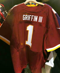 Robert Griffin III's name has his Redskins jersey flying off the racks. (Ben Liebenberg/NFL)
