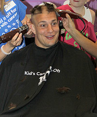 Rob Gronkowski has his head shaved for charity Sunday at Gillette Stadium.
