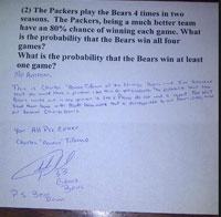 The pro-Packers math problem that prompted Bears cornerback Charles Tillman to write a letter to a Chicago-area teacher.