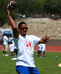 Giants CB Terrell Thomas held his youth football camp Saturday in Rancho Cucamonga, Calif.