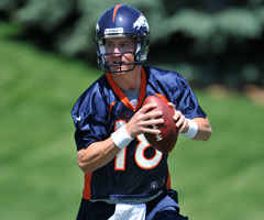 Broncos QB Peyton Manning's arm is nearly '90 percent' after an injury-plagued 2011 season, one Denver columnist said. (Eric Bakke/Associated Press)
