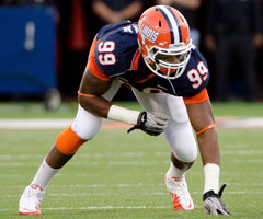 Illinois' Michael Buchanan (above) played in 2012 first-rounder Whitney Mercilus' shadow last season.
