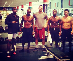 Indianapolis Colts receiver Donnie Avery tweeted this photo of Andrew Luck with several others receivers in the University of Miami weight room Thursday.