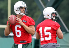 Mark Sanchez (left) and Tim Tebow are No. 1 and No. 2 on the New York Jets' depth chart.