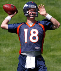Peyton Manning had his first Denver Broncos training camp practice Thursday.