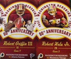 The Washington Redskins made a gaffe when printing their season tickets, calling Roy Helu, Robert.