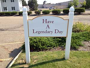 A sign outside a Marriott hotel in Canton reminds visitors of the iconic weekend ahead.