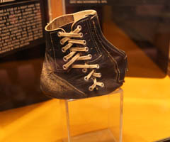 The record-setting shoe of Tom Dempsey on display at the Pro Football Hall of Fame. (Ben Liebenberg/NFL)