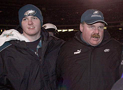 Garrett Reid (left), son of Philadelphia Eagles coach Andy Reid, was found dead Sunday morning at Lehigh University.